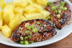 Teriyaki Pork Chops - 1/2 C Canola Oil, 1/4 c soy sauce, 3 T ketchup, 1 T white vinegar, 1 garlic clove, 4-5 boneless pork chop. Marinate 30 minutes, Grill and baste with sauce. Garnish with sesame seeds and green onion.