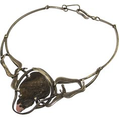 Maxwell Chayat Modernist Sterling and Stone Necklace