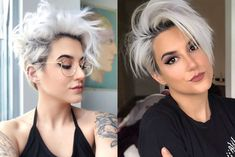 Short white hair by Kaylan Longee on Hair in 2020 Cut Her Hair, Hair Cuts, Beckham Hair, Short White Hair, Edgy Short Haircuts, Cool Hairstyles, Hairstyles 2018, Shaved Hair Designs, Blonde Pixie Cuts