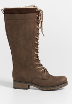 Nadine tall combat boot with faux sherpa lining