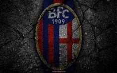 Scarica sfondi Bologna, logo, arte, Serie A, soccer, football club, il Bologna FC, asfalto texture