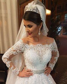 Vestidos de Noiva Ball Gown Long Sleeves Wedding Dresses 2016 Pearls Tulle Vestido de Noiva Casamento Mariage Boda