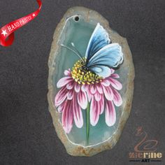 HAND-PAINTED-BUTTERFLY-FLOWERS-GEMSTONE-STONE-NECKLACE-PENDANT-BEAD-D1703-0909