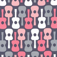 Love this girly groovy guitars by Michael Miller ~  bloom pink its a girl thing musical instruments