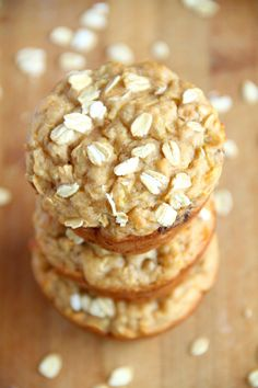 Apple Oat Greek Yogurt Muffins -- ridiculously soft and tender with NO butter or oil! A perfect breakfast or snack!    runningwithspoons.com #healthy #muffins