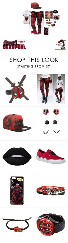 """Deadpool"" by hellokitty-780 on Polyvore featuring Lime Crime and Vans"