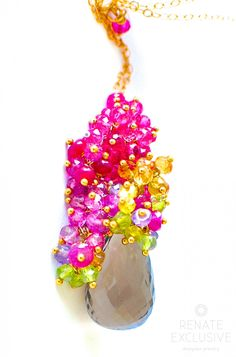 Natural Smokey Topaz with Tiny Gemstones Necklace