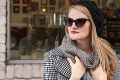 Cat eyes, beanie, and houndstooth jacket for winter