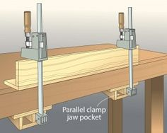 Mounting easily to the underside of your workbench, the jaw pocket should fit a clamp's jaw without wiggle room. With one jaw of the clamp held in place, you can adjust the other with one hand and steady the assembly with the other. And the benchtop serves as a clamping caul—expanding the clamp's pressure over a wider area. —Gary Scoggins, Hayward, CA on Wood Mag Tip of the Day