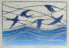 Swallows lino cut print