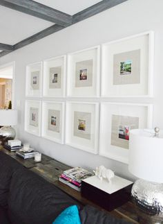 Love What You Love | Young House Love .. White ikea RIBBa frames. With fabric and whit matting that comes with