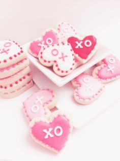Pink heart cookies with love