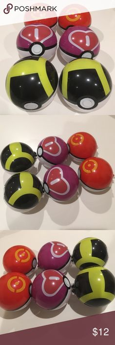 """6 Pokemon poke balls 2 sets of Pokemon poke balls ( 6 in total). Diameter is 2.76"""" for each ball. Press the button in the middle, poke ball can open up to store candies or small items. Perfect toys/ gifts / decoration. Pokemon Other"""