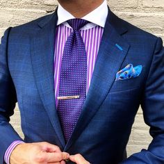 "everybodylovessuits: ""Ok, this is really nice combination. Purple and pink(ish) are really close to each others and blue works well with both. There's 3 main colors 1 extra shade of blue (pocket square and buttonholes) and white as neutral. Der Gentleman, Gentleman Style, Sharp Dressed Man, Well Dressed Men, Mens Fashion Suits, Mens Suits, Men's Fashion, Suit Combinations, La Mode Masculine"