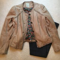 Aanthropology leather jacket Very soft 100% leather jacket from Anthropologie made by elevenses with cute floral detail inside and Eyelet detail along neck, sleeves ,front ,and bottom . Measures 16 from shoulder seam to shoulder seam, 19 from underarm to underarm arm, and the length is 23 inches . (NOT included in bundle deal) 🚫trades Anthropologie Jackets & Coats Utility Jackets