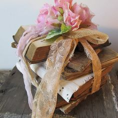 Tall antique book stack with pink rose shabby by AnitaSperoDesign