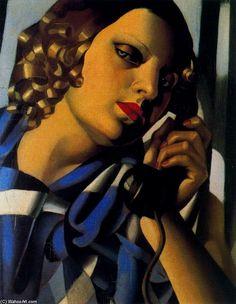 Tamara de Lempicka was a glamorous Polish Art Deco painter. She was able to make the harder, geometric qualities of Art Deco lo. Isadora Duncan, Tamara Lempicka, Moda Art Deco, Georgia O'keeffe, Art Deco Artists, Modern Artists, Popular Paintings, Amazing Paintings, Amazing Art