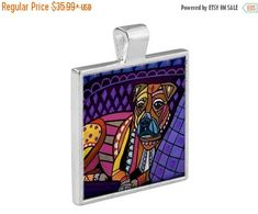 40% OFF Today- Boxer Dog Folk Art Jewelry - Pendant Metal Gift Art Heather Galler Gift- Dog Lovers Abstract Modern Vegan Gifts