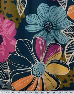 Sunflower Script Drapery Upholstery Fabric Lg Scale Floral Herringbone Base