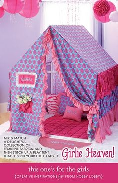 This adorable tent for girls is made from a delightful collection of fabrics that shes sure to love!
