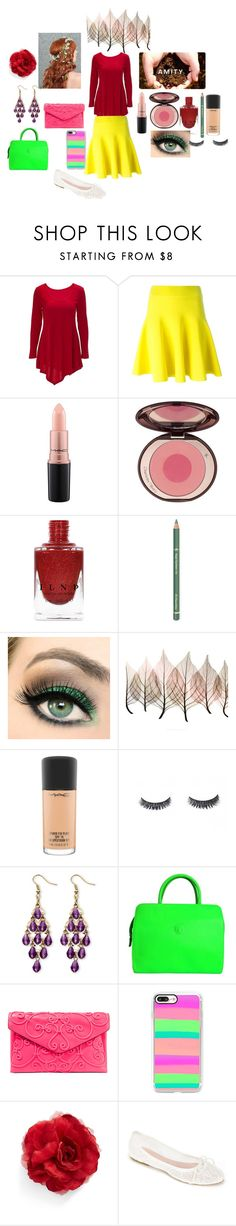 """""""How the Amity go to school."""" by sydney24-hunter ❤ liked on Polyvore featuring MAC Cosmetics, Charlotte Tilbury, Dr.Hauschka, Artistica, Palm Beach Jewelry, Versace, Valentino, Casetify, Cara and Summit by White Mountain"""