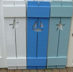 I like the starfish shutters. Exterior Interior Shutters Cutout Wood Beach House Shutter via Etsy House Shutters, Interior Shutters, Cottage Shutters, Wood Shutters, Window Shutters, Window Boxes, Coastal Living, Coastal Decor, Beach Cottages