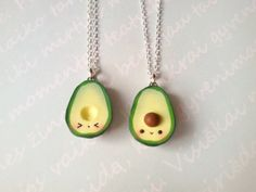 MADE TO ORDER! These are handmade polymer clay charms. Miniature food, kawaii avocado is a great friendship necklace and pendant. Surprise your friend with a great gift- this avocado pendant is not only very cute but also appetizing and friendly meaningful. It comes in a miniature gifting box.   There is a picture where the item is being held to show the size of the charm  THE SET INCLUDES: 2 Avocado pendants with 2 chains of your choice   CHAIN OPTIONS: ✦NO CHAIN✦ -includes 2 clay charms…