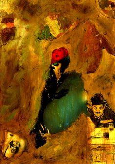 """9-Toulouse Lautrec x Cris Acqua.  Pintura Mixta Collage. 30x21 cm.  HOMENAJE :""""Mi amor por este genial pintor...dueño de los trazos más libres y geniales de la Belle epoque, me han influido totalmente en mi camino por el arte..."""" (Cris Acqua)  http://www.crisacqua.com"""