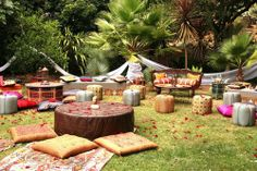 My ideal backyard entertaining space. Moroccan styling comfy floor pillows Persian rug cute boho ottomans lanterns and pops of colour. Outdoor Parties, Outdoor Events, Outdoor Entertaining, Backyard Parties, Backyard Party Decorations, Decoration Table, Backyard Ideas, Wedding Decorations, Terrace Ideas