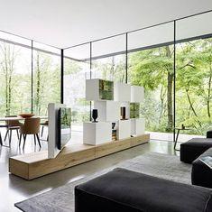 Einzigartige Design Wohnwand C46 Kann Auch Als Raumteiler Eingesetzt  Werden. Das TV Paneel Ist Im