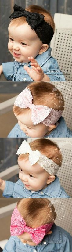 Made from stretchy lace and tied in a darling bow! Available in 5 colors. Explore headbands for newborn babies and little girls at http://thinkpinkbows.com/products/lace-headwrap | Kids Summer Fashion