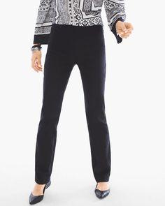 Chico's Women's So Slimming Brigitte Straight-Leg Pants, Black, Size: 00 (2 - XS) TALL