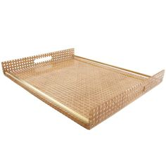 1970s Lucite and Rattan Serving Tray by Christian Dior Home Collection | From a unique collection of antique and modern serving pieces at https://www.1stdibs.com/furniture/dining-entertaining/serving-pieces/