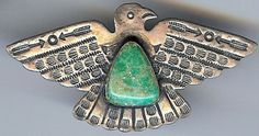 HANDSOME VINTAGE NAVAJO INDIAN STERLING SILVER GREEN TURQUOISE THUNDERBIRD PIN
