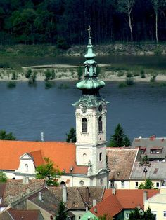 Hainburg an der Donau. View of town from the castle. Towers, Austria, Places Ive Been, Castle, Around The Worlds, Clock, Europe, River, Street
