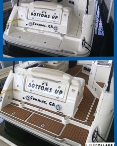 """""""Bottoms Up"""" got a new makeover- complete interior and swim platform with the brown on black teak look"""