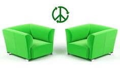 Peace Sign, Recycle, Green Footprint - Vinyl Sticker, Wall Decal, Wall Decor, Home, Dorm, Office Decor