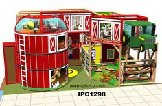 Indoor Playground Ideas by - Barn Themed - barn themed murals, chicken coop pendulum walk, chicken coop punching bags, play area, tractor - Playground Design, Indoor Playground, Playground Ideas, Youth Ministry Room, Children Ministry, Piscina Playground, Kids Play Equipment, Outdoor Play Spaces, Kids Swing