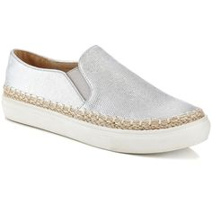 EXTREME by Eddie Marc Silver Fab Sneaker (70 BRL) ❤ liked on Polyvore featuring shoes, sneakers, slip on espadrilles, silver espadrilles, espadrille sneakers, slip on shoes and silver platform shoes