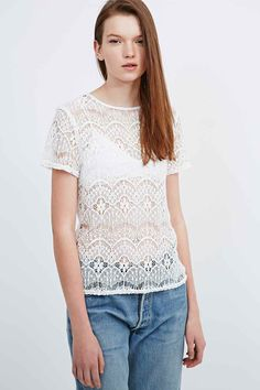 Pins & Needles Lace Tee in Ivory