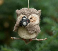 Needle Felted Owl Ornament  Holding Camera by scratchcraft on Etsy, $24.00
