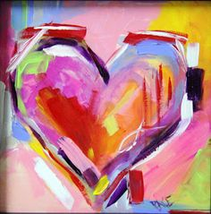Texas Contemporary Fine Artist Laurie Pace: Heart Series 1 Painting by A Texas Artist Laurie Pace