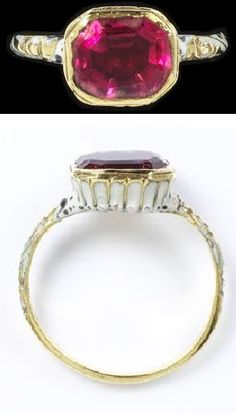 Enamelled gold ring, with an octagonal bezel set with a red rock crystal doublet, inscribed 'TM' under the bezel, England, 1600-1700. Height: 2.2 cm, Width: 1.9 cm, Depth: 0.9 cm