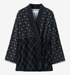 Our Hand Embroidered Diamond Jacket is hand embroidered by an Indian fair-trade cooperative. It has kimono-style sleeves and neck. Tweed Coat, Kimono Jacket, Kimono Style, Embroidered Jacket, Couture, Quilted Jacket, Kimono Fashion, Coats For Women, Work Wear