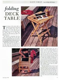 #288 Folding Table Plans - Outdoor Furniture Plans