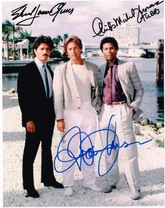 """Miami Vice Authentic Cast Signed 8x10 Autograph Photo - Don Johnson, Philip Michael Thomas, Edward James Olmos - Hand-signed autograph with Certificate of Authenticity included - All orders are shipped within 48 hours. Free domestic shipping. Lifetime guarantee under the terms of our return policy. This signed item would make an excellent and unique gift. An American television crime drama series starring Don Johnson as James """"Sonny"""" Crockett and Philip Michael Thomas as Ricardo """"Rico"""" ..."""