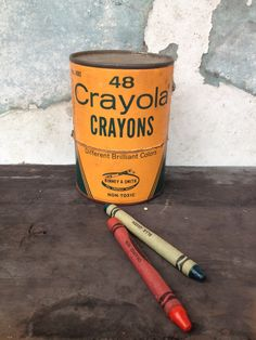 Vintage Crayola Tin/Colorful/Nursery Room by MarchHareMade on Etsy, $9.95