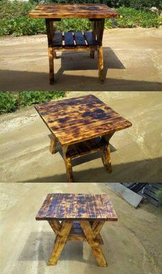폐몰재로 만든 야외테이블