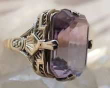Antique 14k Gold and  Amethyst Filigree RING