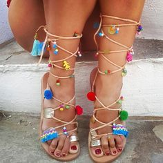 SALES  Tie Up Gladiator Sandals Handmade Leather by RiRiPoM